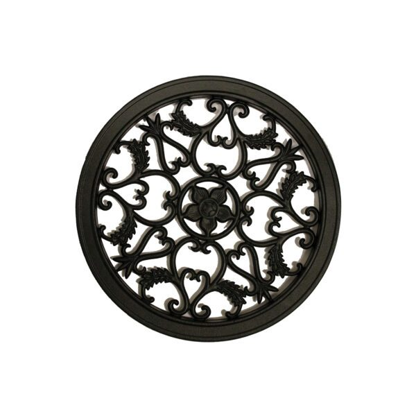 """ACW55 - ROUND BLACK CAST ALUMINUM FENCE & GATE INSERT - 15"""" DIAMETER"""