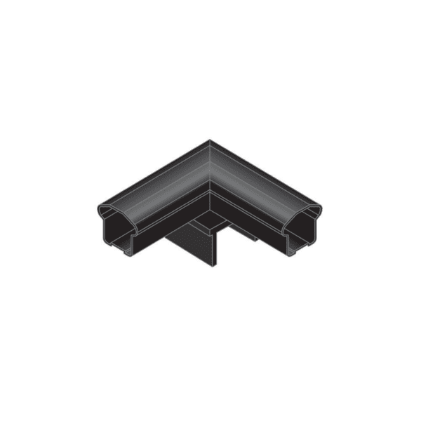 BLCPC90 - BLACK ALUMINUM IN-LINE 90° POST CAP FOR SMOOTH CONTINUOUS LINE RAILING