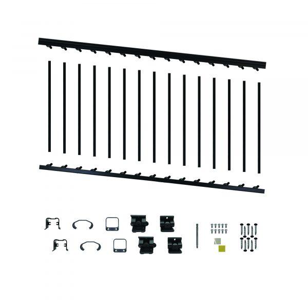 """BLSARK636S - 6' LONG x 36"""" HIGH BLACK ALUMINUM STAIR RAILING KIT"""
