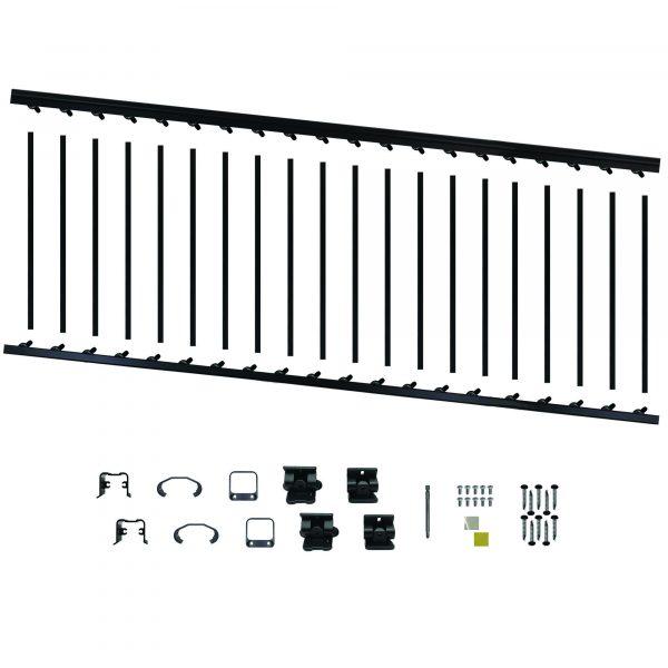 """BLSARK836S - 8' LONG x 36"""" HIGH BLACK ALUMINUM STAIR RAILING KIT"""