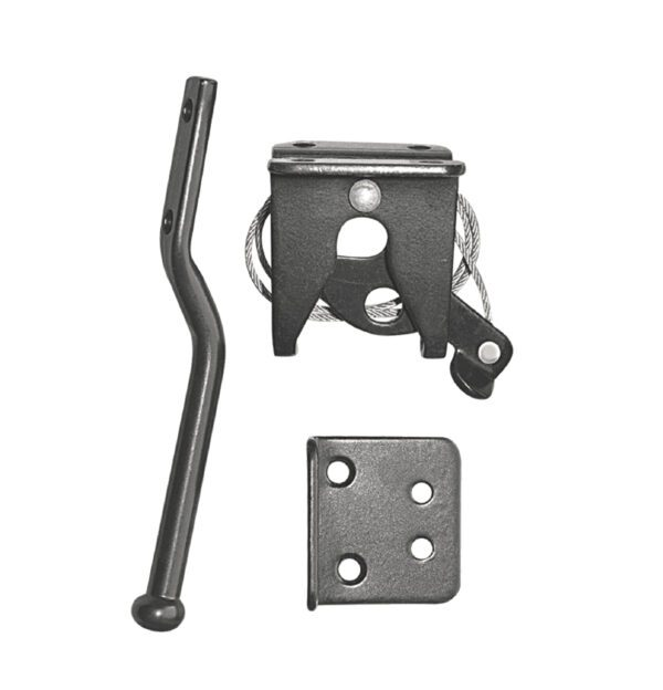 LCWSBLK - BLACK GALVANIZED STEEL SPRING-LOADED LATCH AND CATCH WITH CABLE AND RING - GATE HARDWARE