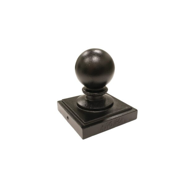 """PCB04 - 6"""" x 6"""" BLACK ALUMINUM ORNAMENTAL BALL POST CAP"""