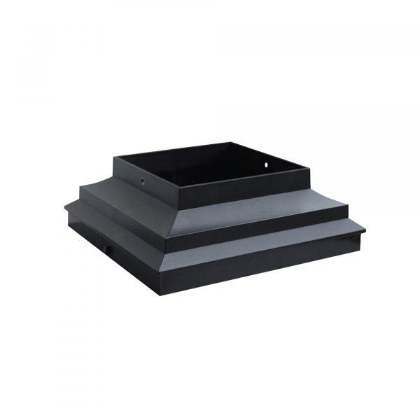 "PCCA4B - 4"" x 4"" BLACK PLASTIC POST BASE SKIRT & POST CAP ADAPTER"