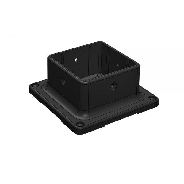 "PPA4X4B - MULTI-PURPOSE BLACK 4"" x 4"" PLASTIC POST BASE ANCHOR"