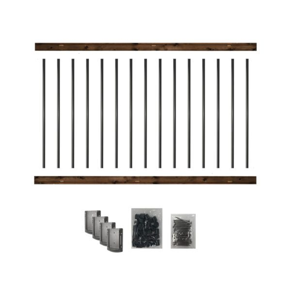 """RKB6 - 6' LONG PRE-DRILLED PRESSURE-TREATED WOODEN RAILING KIT. DESIGNED FOR A 42"""" HIGH FINISH RAILING"""