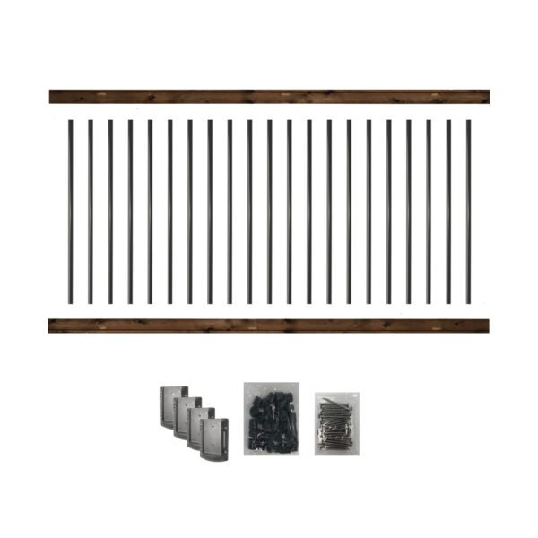 """RKB8-36 - 8' LONG PRE-DRILLED PRESSURE-TREATED WOODEN RAILING KIT. DESIGNED FOR A 36"""" HIGH FINISH RAILING"""