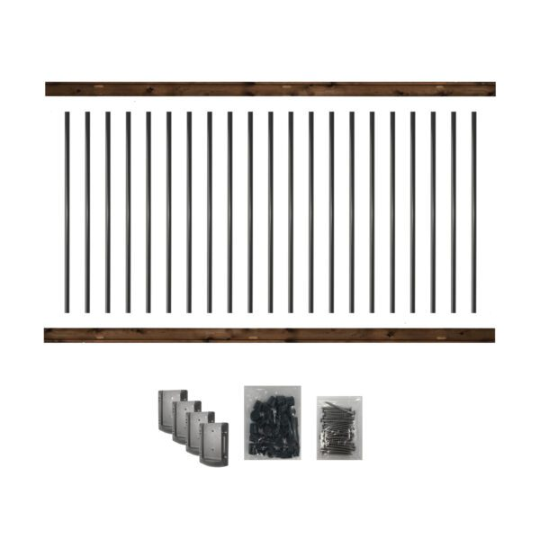 """RKB8 - 8' LONG PRE-DRILLED PRESSURE-TREATED WOODEN RAILING KIT. DESIGNED FOR A 42"""" HIGH FINISH RAILING"""