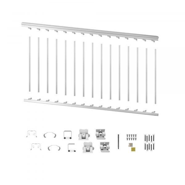 """WHSARK636S - 6' LONG x 36"""" HIGH WHITE ALUMINUM STAIR RAILING KIT"""